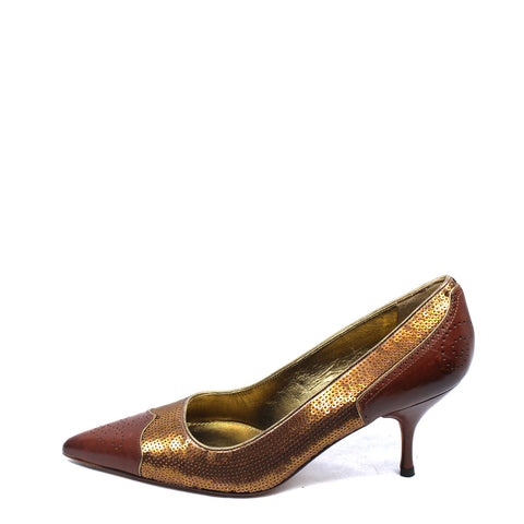 Prada Deep Brown and Sequin Pumps (Size 36) - Encore Consignment - 8