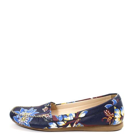 Prada Floral-Print Leather Moccasins (Size 39)