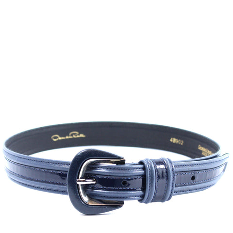 Oscar de la Renta Navy Blue Leather Belt (Size S) - Encore Consignment - 6