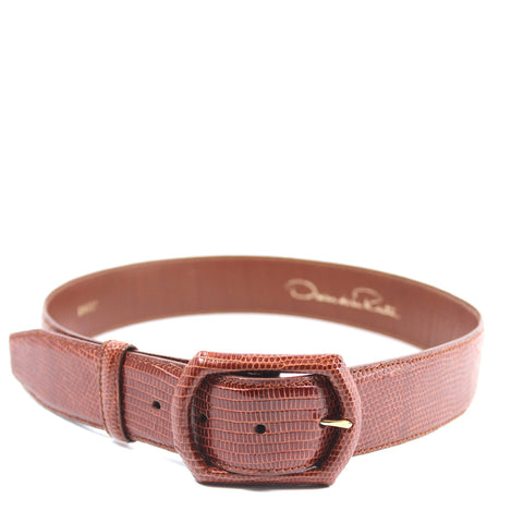 Oscar de la Renta Brown Lizard Leather Belt (Size S) - Encore Consignment - 8