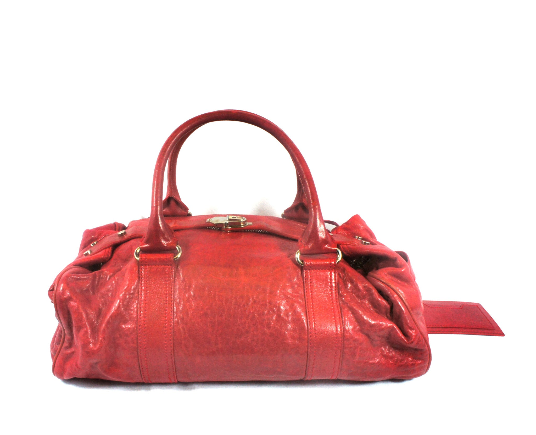 """PU""Balenciaga Red Leather Duffle Bag - Encore Consignment - 1"