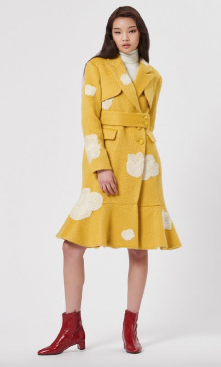 HAGAHI FW18 Yellow Ivory Floral Embroidered Mohair Long Flare Tulip Hem Coat 2