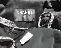 CHANEL 06P Gray Silver Star CC Black Satin Bottle Cap Button Jacket & Tank S 36