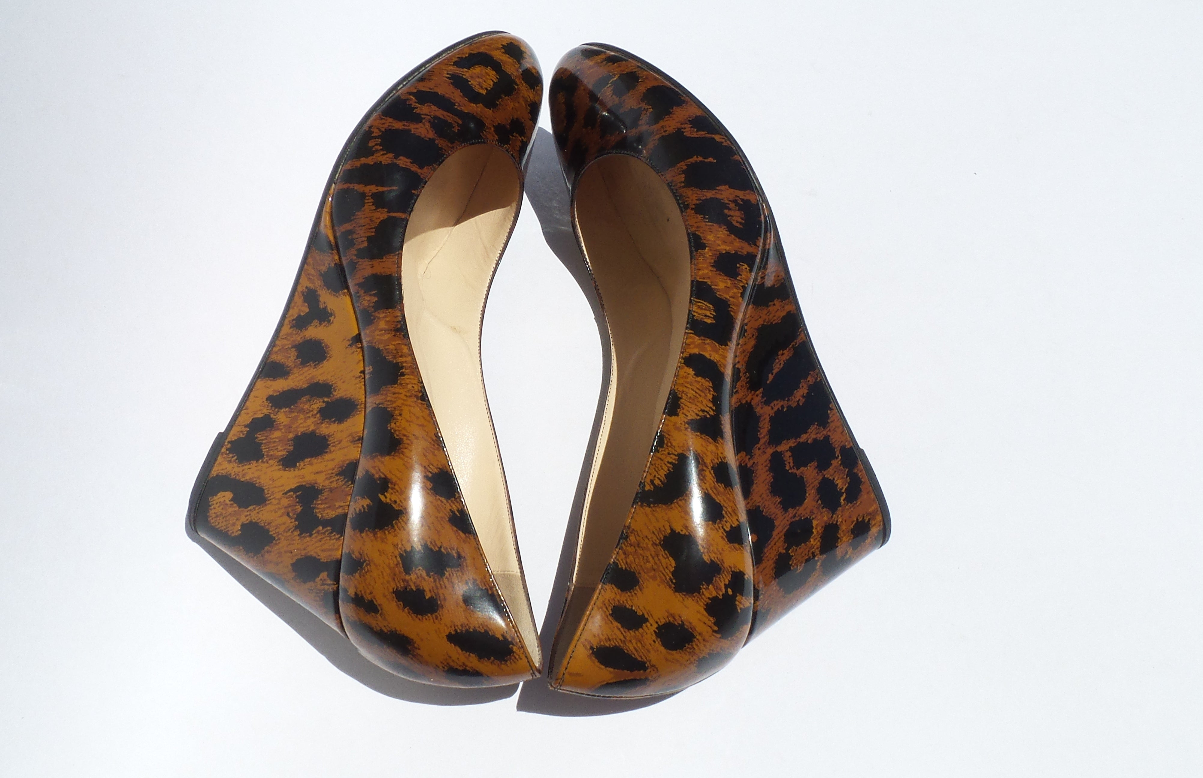 'Sold' CHRISTIAN LOUBOUTIN Brown Black Leopard Print Patent Leather Wedges 39.5