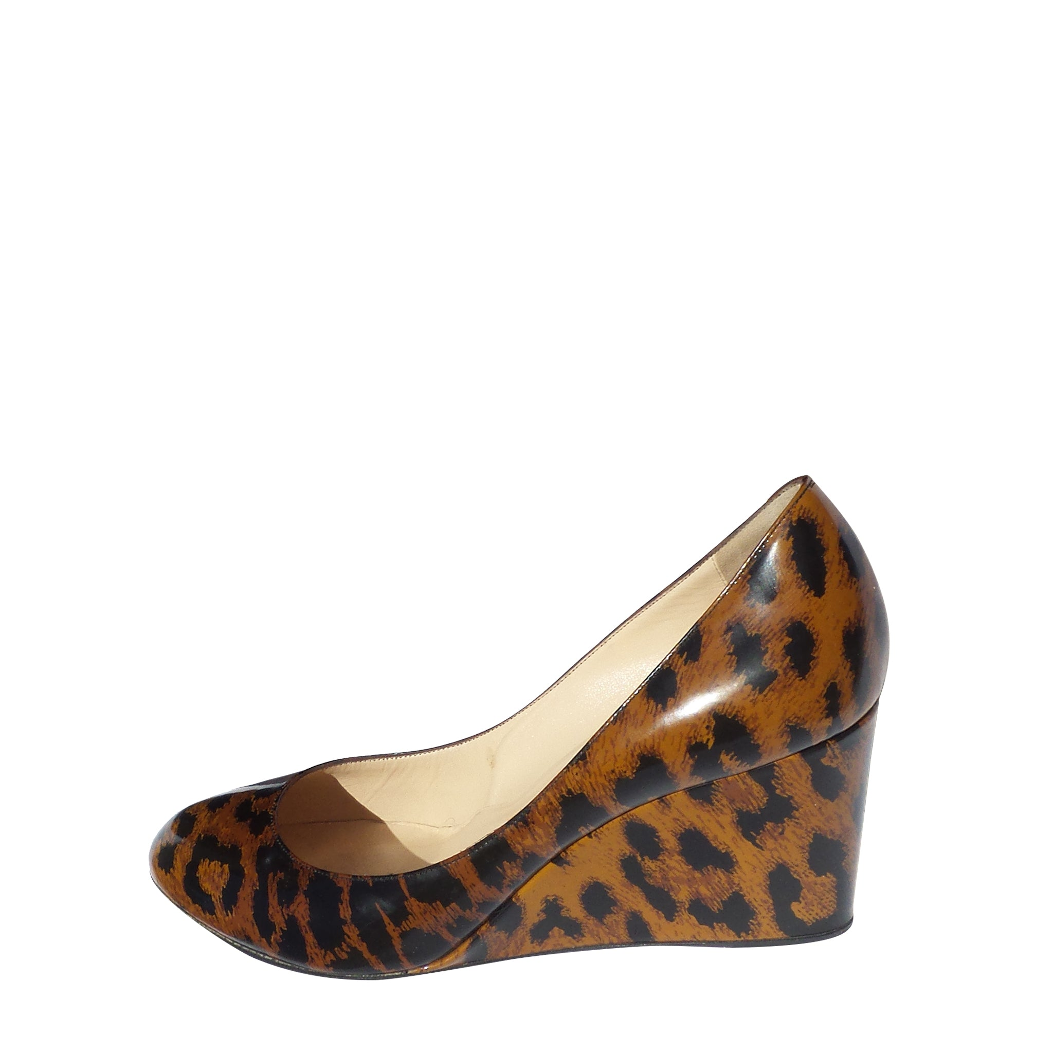 CHRISTIAN LOUBOUTIN Brown Black Leopard Print Patent Leather Wedges 39.5