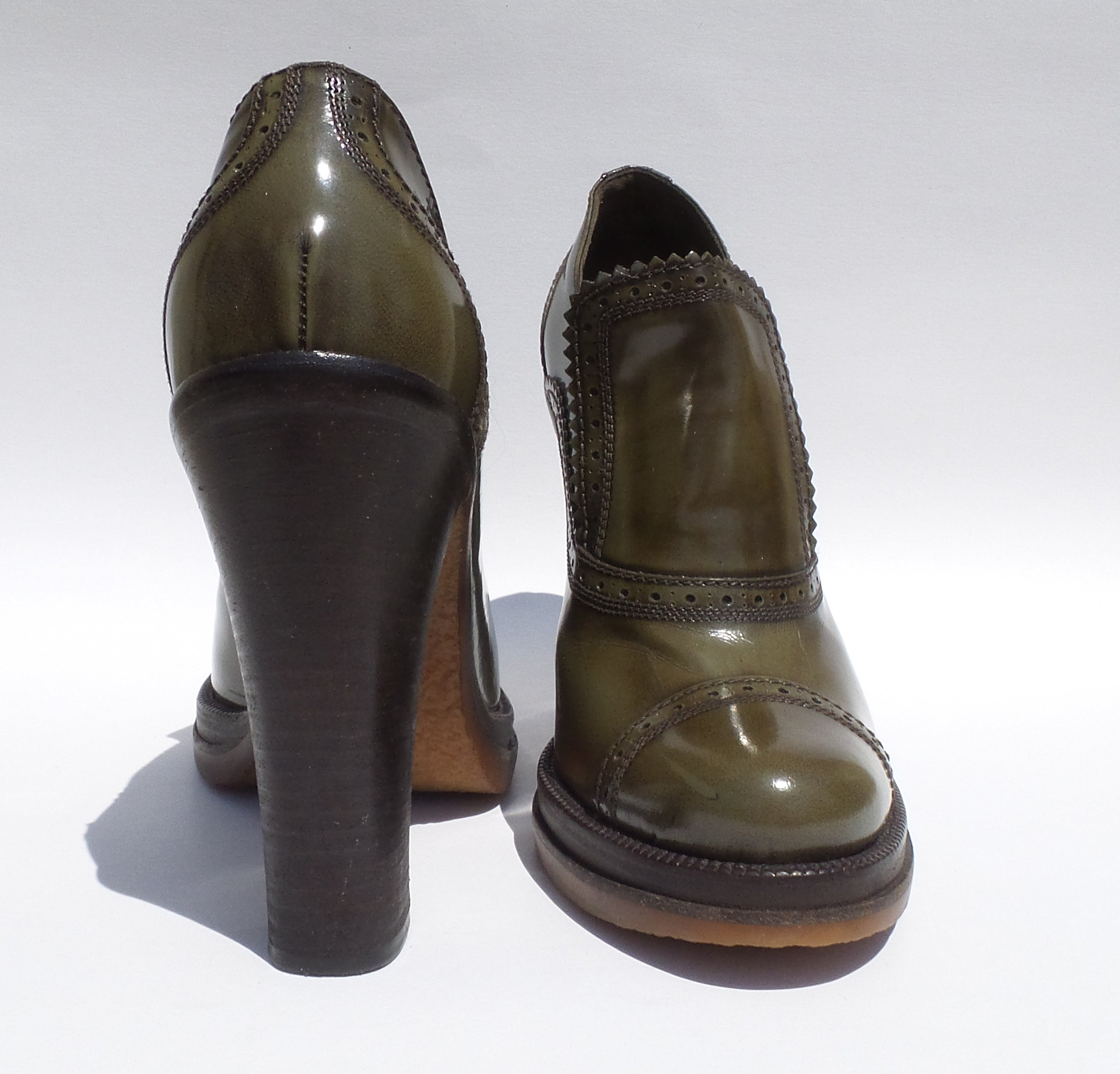 'Sold' LOUIS VUITTON Olive Green Polished Leather Block Heel Platform Bootie Pumps 39.5
