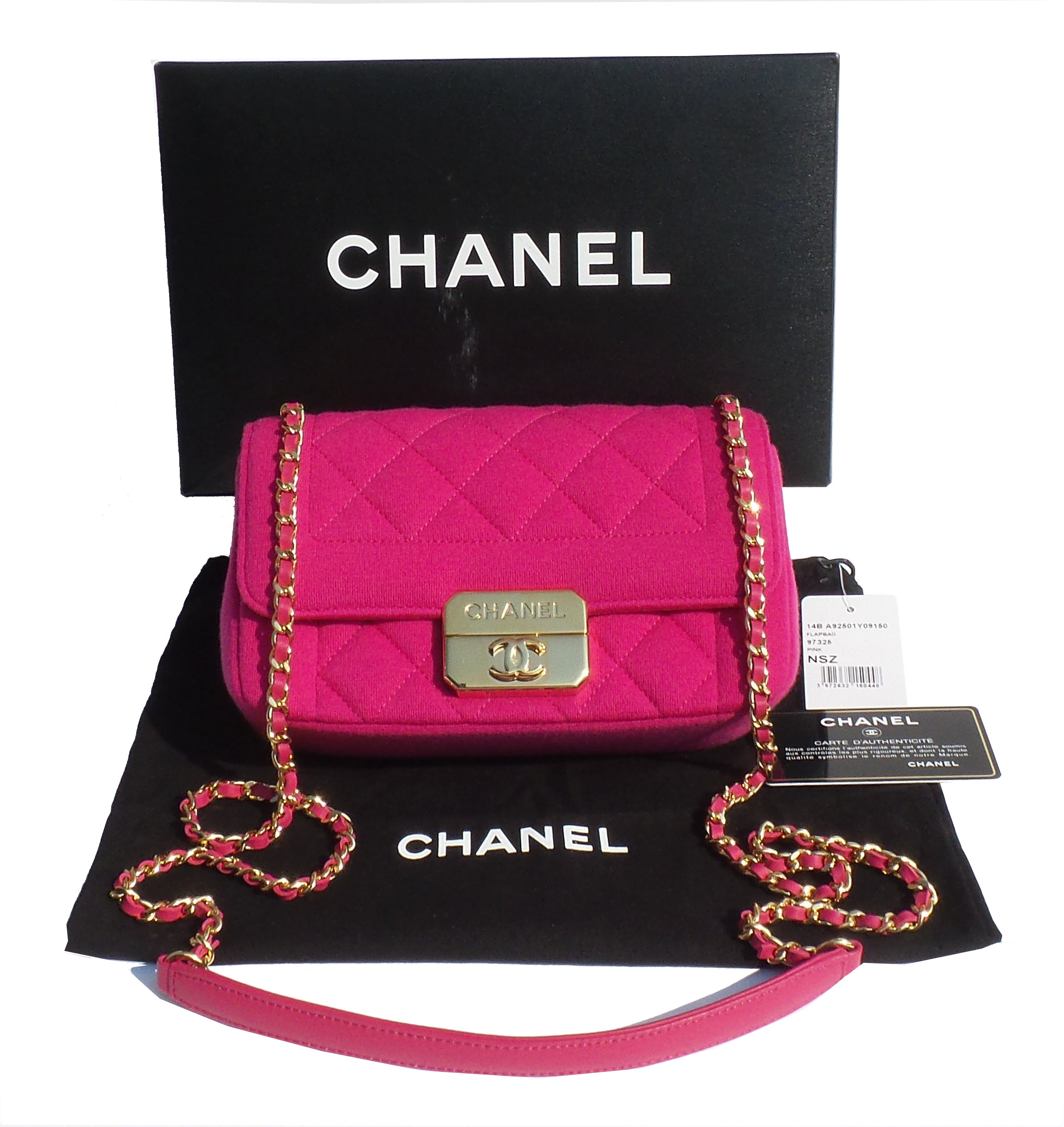 'Sold' CHANEL 14B Fuchsia Hot Pink Quilted Jersey Mini Flap Bag EC