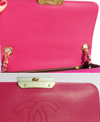 CHANEL 14B Fuchsia Hot Pink Quilted Jersey Mini Flap Bag EC