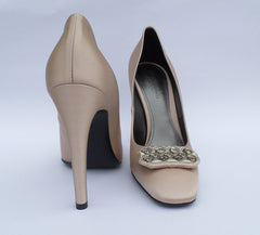 BOTTEGA VENETA Beige Nude Satin Crystal Embellished Pumps 37 EC