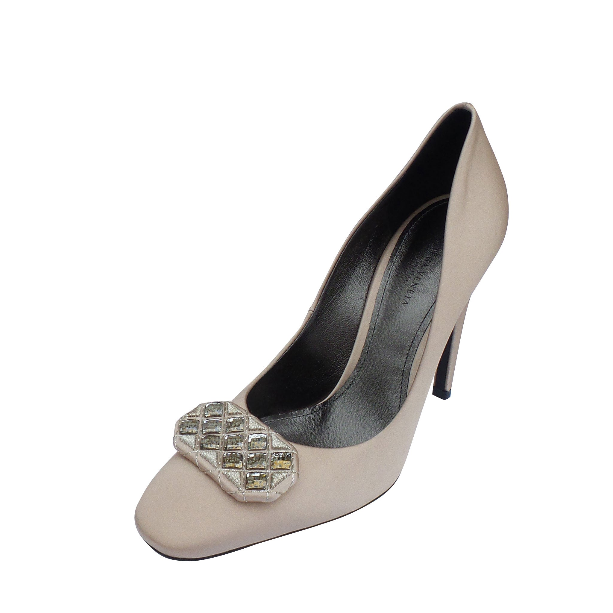 d0357f54e72c BOTTEGA VENETA Beige Nude Satin Crystal Embellished Pumps 37 EC – Encore  Resale.com