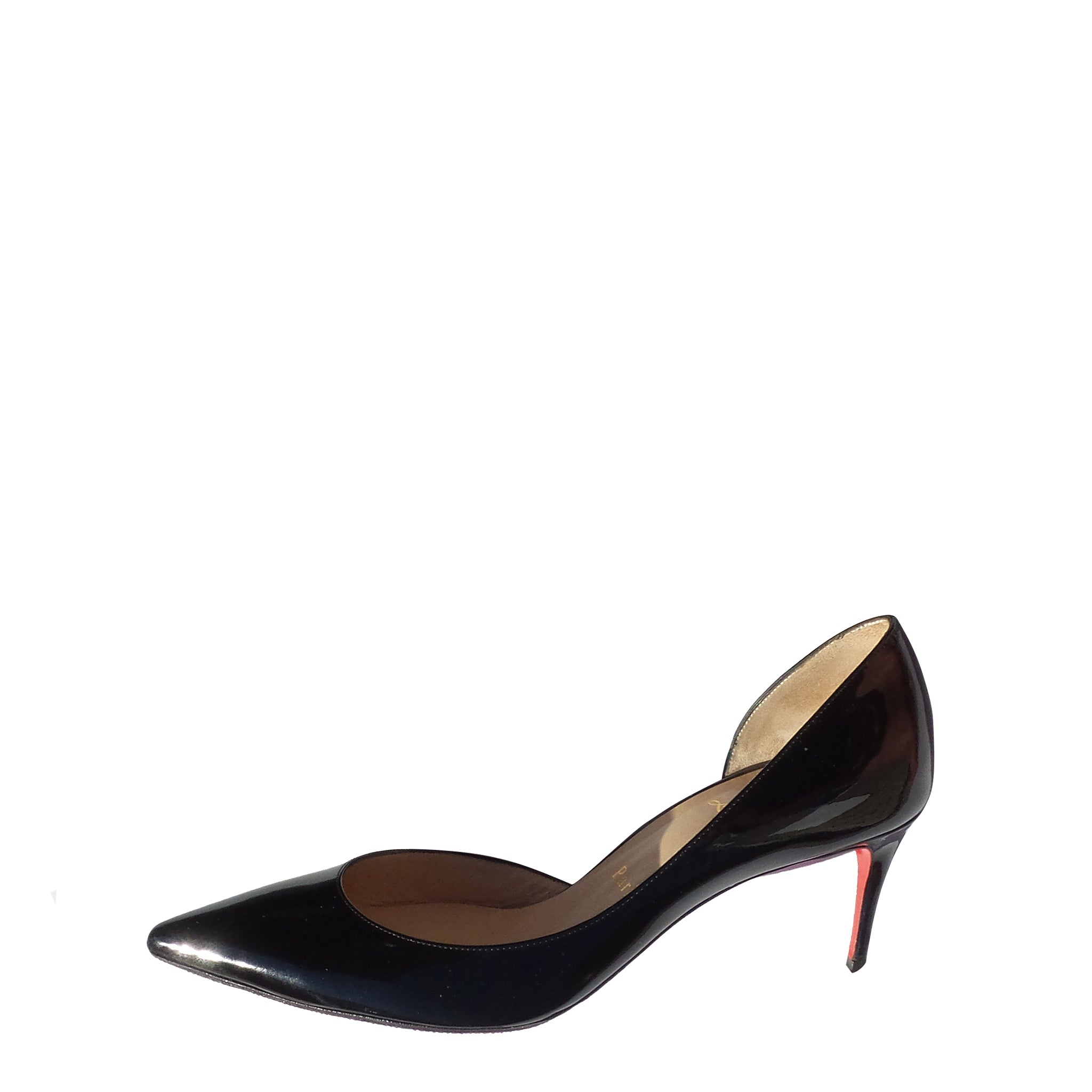9f9e6e52202  Sold  CHRISTIAN LOUBOUTIN Iriza 70 Black Patent Leather Pointed Toe d –  Encore Resale.com