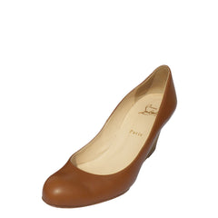CHRISTIAN LOUBOUTIN Cognac Brown Leather Miss Boxe Stacked Wedge 41