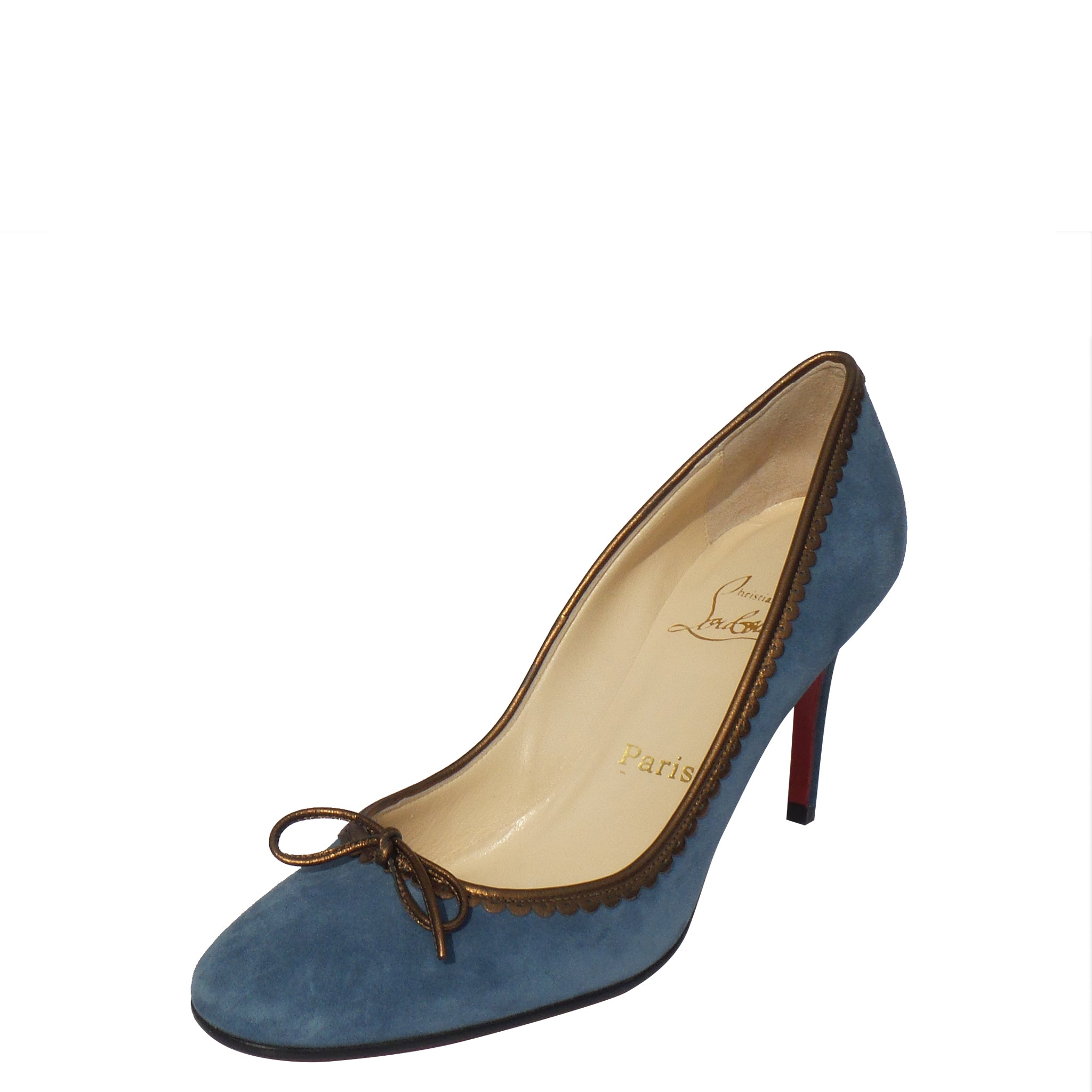 sports shoes 32f99 d30cf CHRISTIAN LOUBOUTIN Slate Blue Suede Bronze Leather Trim Bow Pumps 38.5