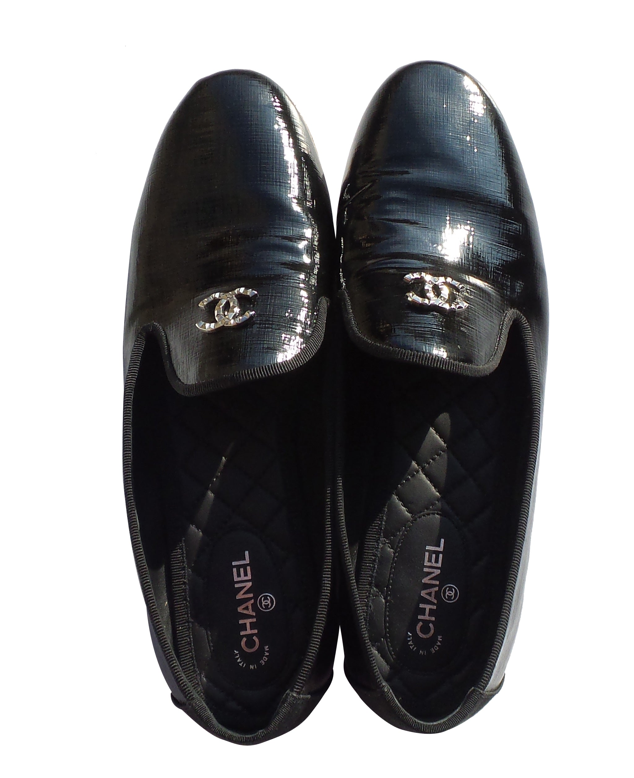 'Sold' CHANEL 16P Black Patent Leather Loafers Flats Moccasins 41