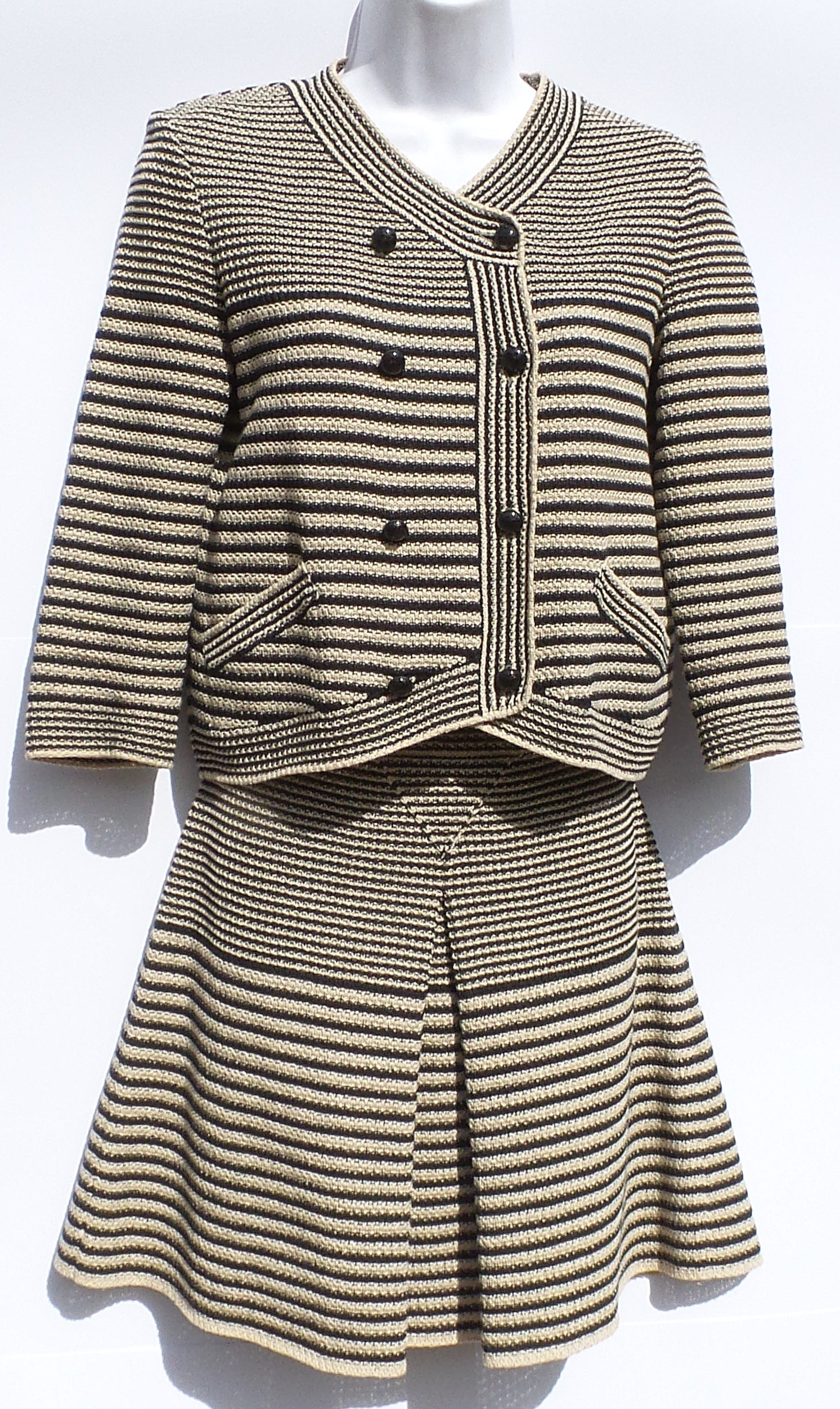 'Sold' CHANEL 15S Beige Black Striped Knit CC Button Sweater Jacket Skirt Suit Set 36