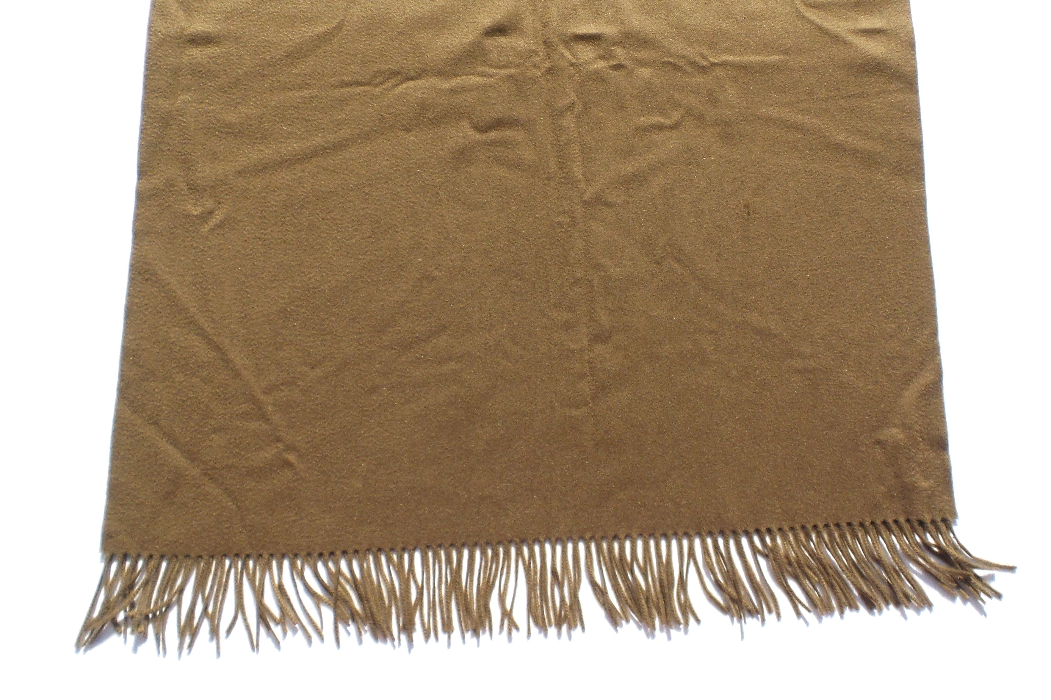 HERMES Sellier Paris Embroidered Brown Cashmere Fringe Stole Shawl Wrap