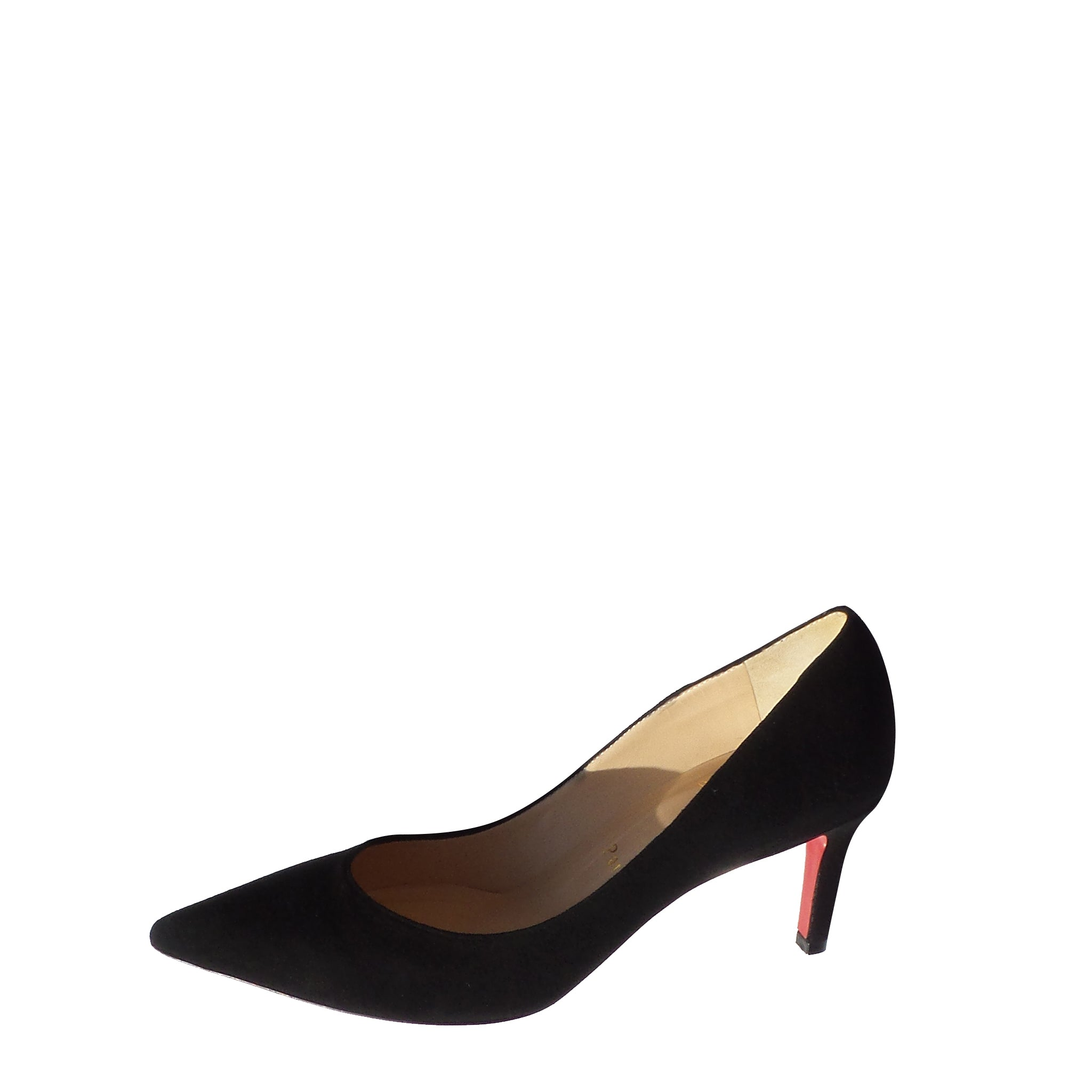 CHRISTIAN LOUBOUTIN Black Suede Mid Heel Classic Pumps 36.5 NOB