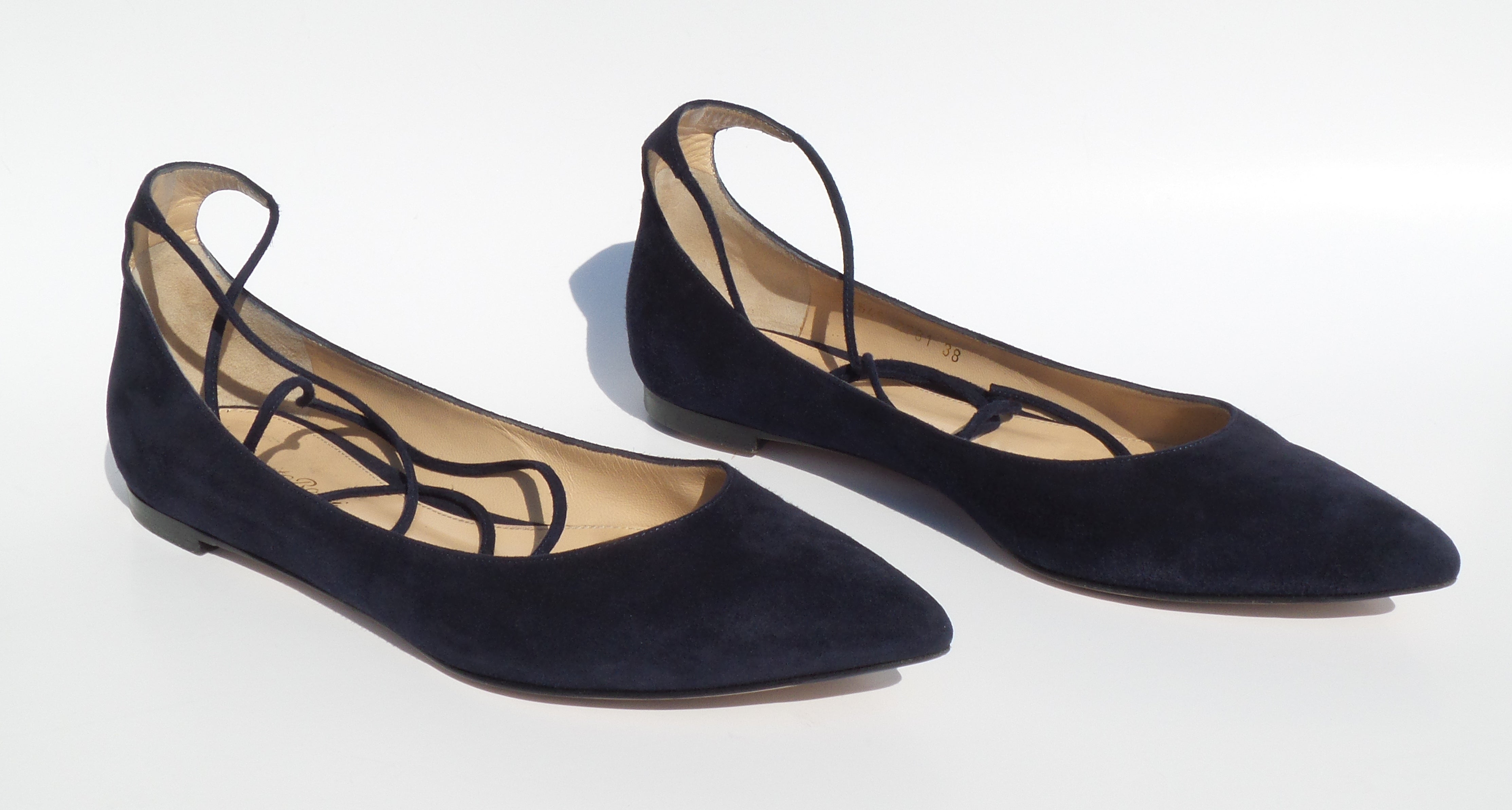 GIANVITO ROSSI Navy Blue Suede Pointed Toe Wrap Ankle Tie Strap Ballet Flats 38