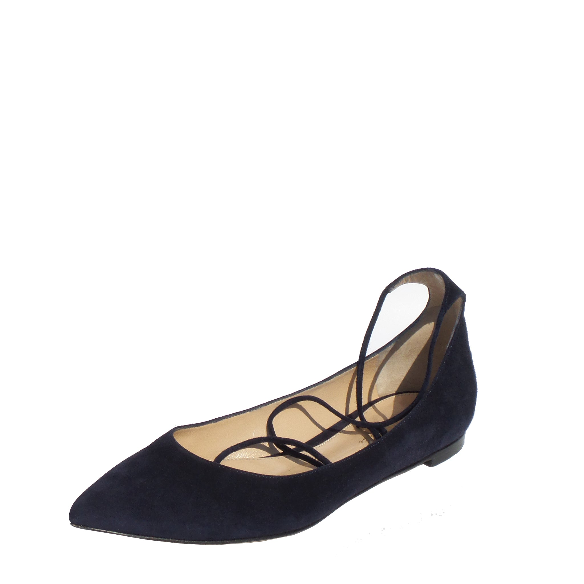 8192c87c1b7d GIANVITO ROSSI Navy Blue Suede Pointed Toe Wrap Ankle Tie Strap Ballet –  Encore Resale.com