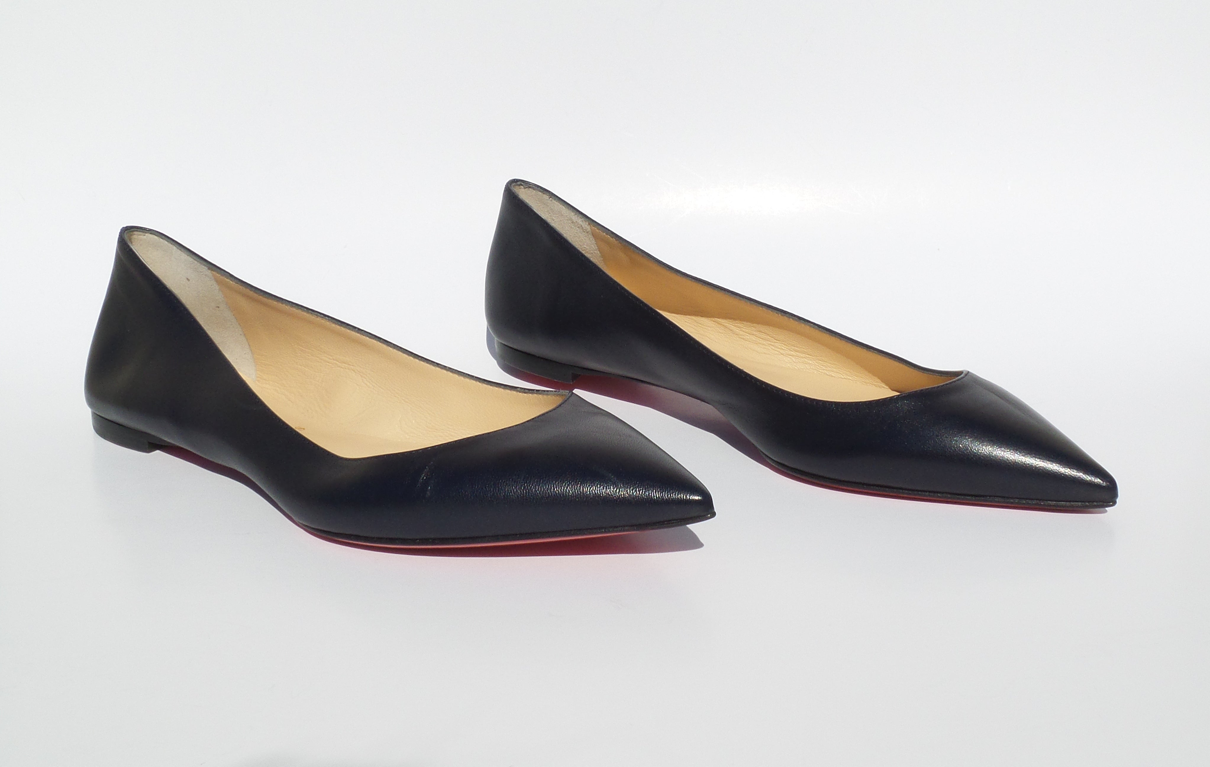 'Sold' CHRISTIAN LOUBOUTIN Navy Blue Leather Pointed Toe Ballet Flats 37.5 GUC