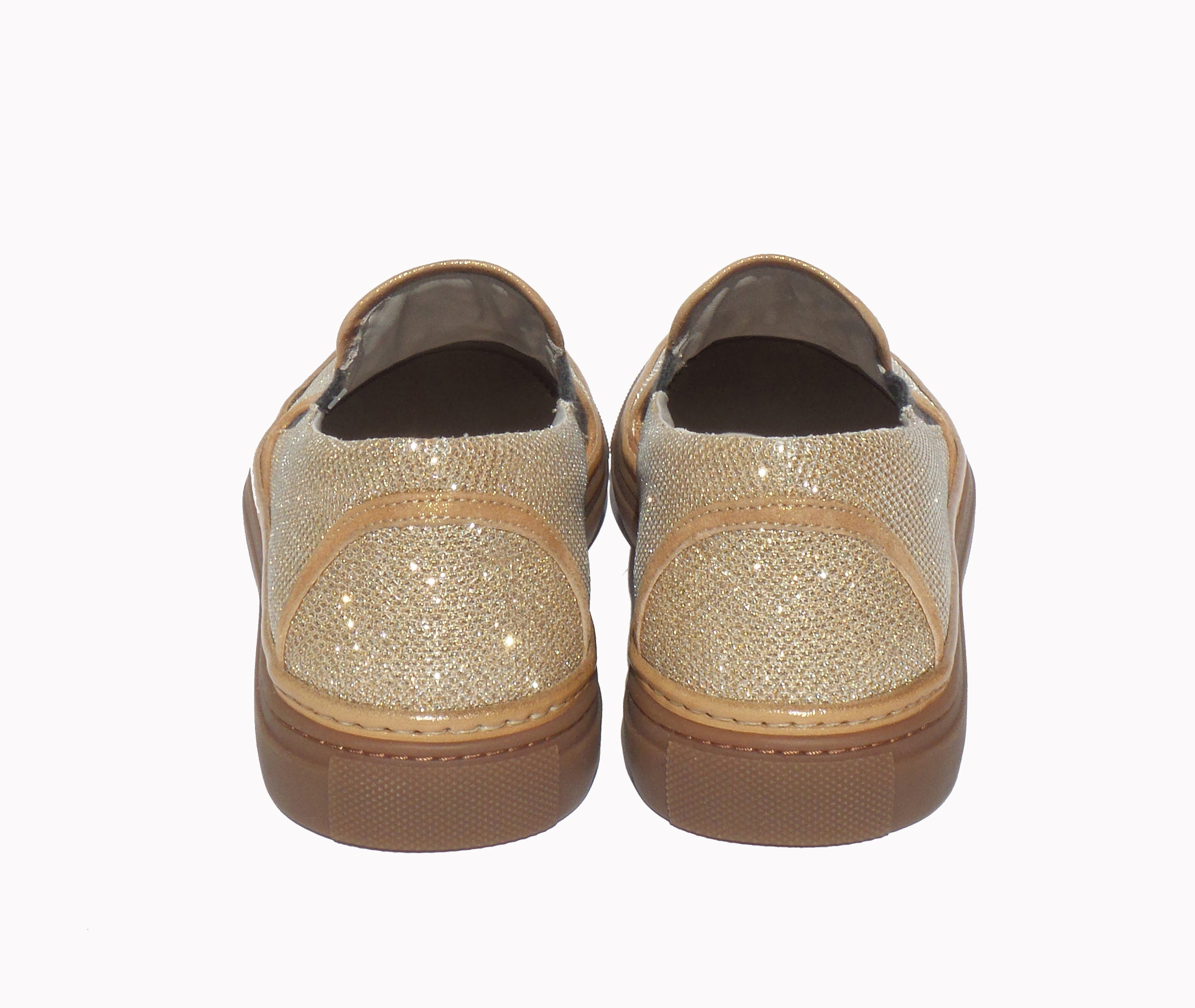 BRUNELLO CUCINELLI Metallic Glitter Gold Trim Skate Sneakers 39 EC