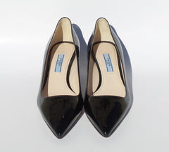 PRADA Black Patent Leather Pointed Toe Mid Kitten Heel Classic Pumps 36 EC