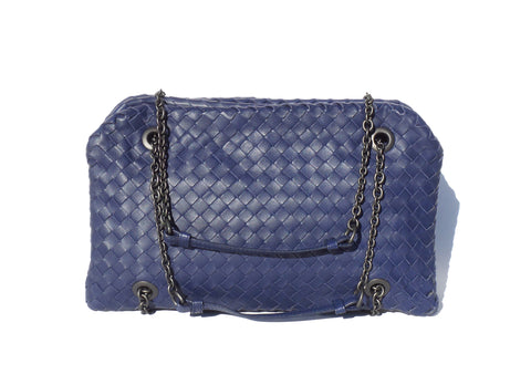 'Sold' BOTTEGA VENETA Indigo Blue Intrecciato Nappa Leather Duo Bag $2480