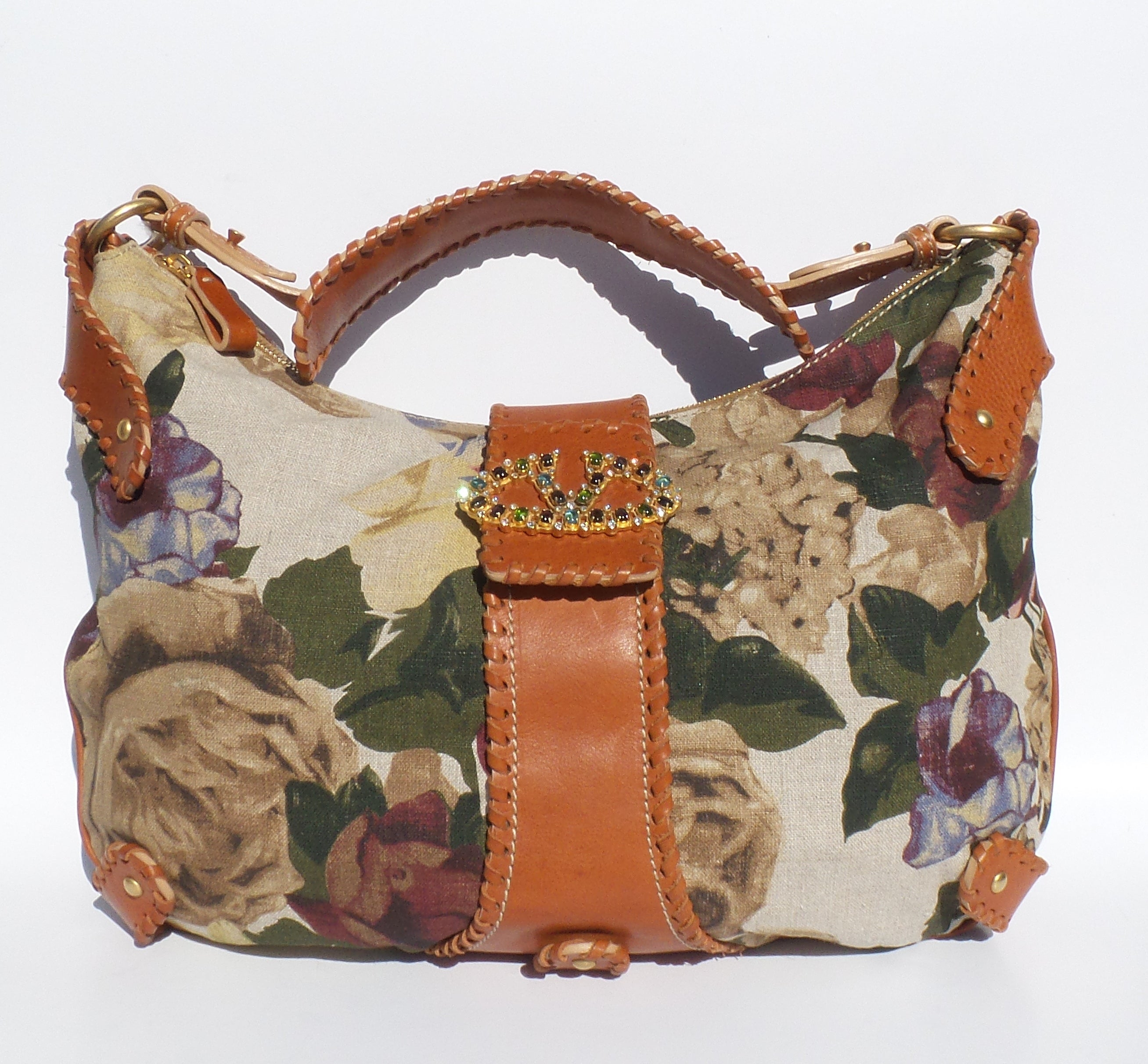 'Sold' VALENTINO Garavani Floral Print Linen Tan Cognac Leather V Clasp Catch Hobo Bag