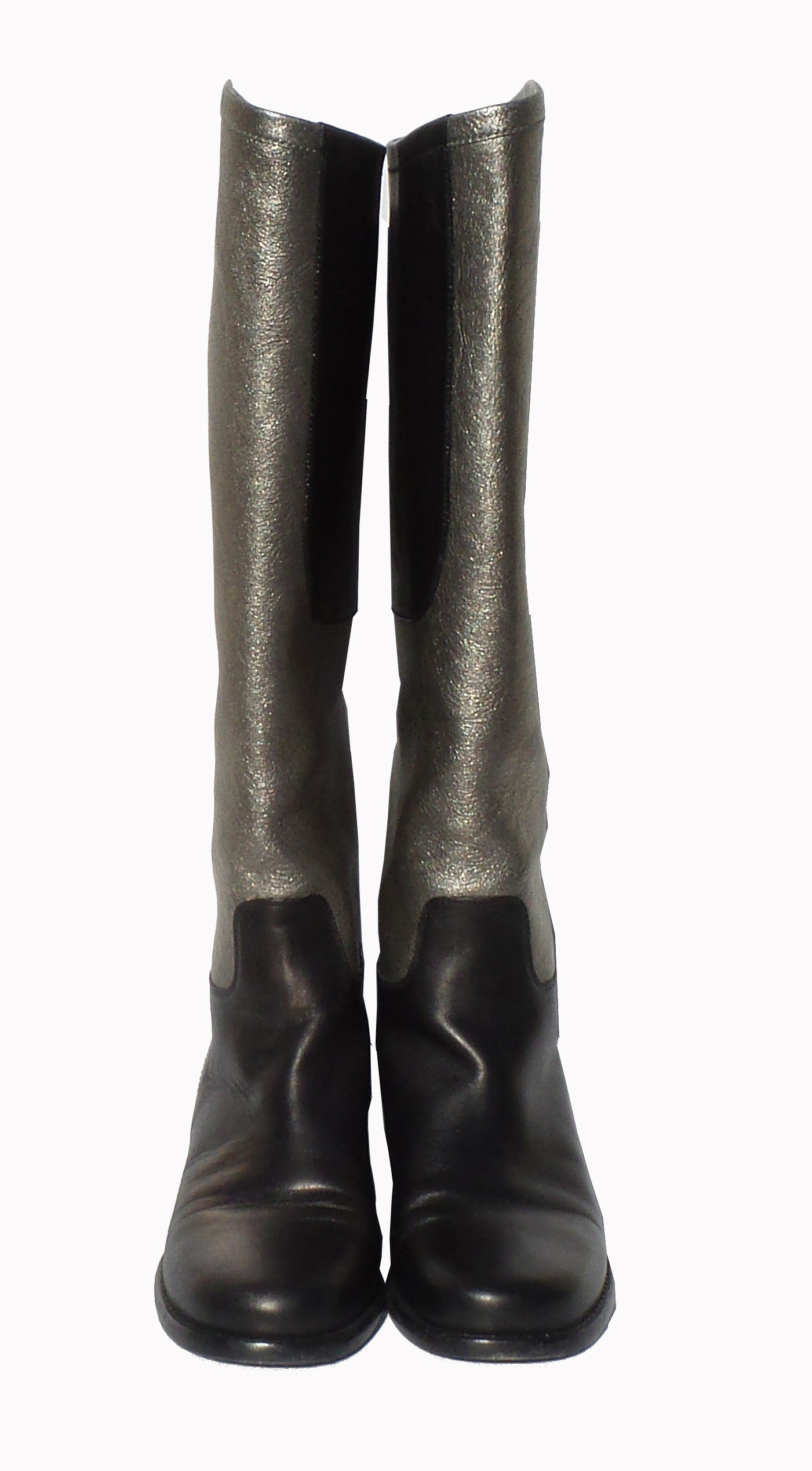 CHANEL Black Silver Leather Stitched CC Boots 38 $1595
