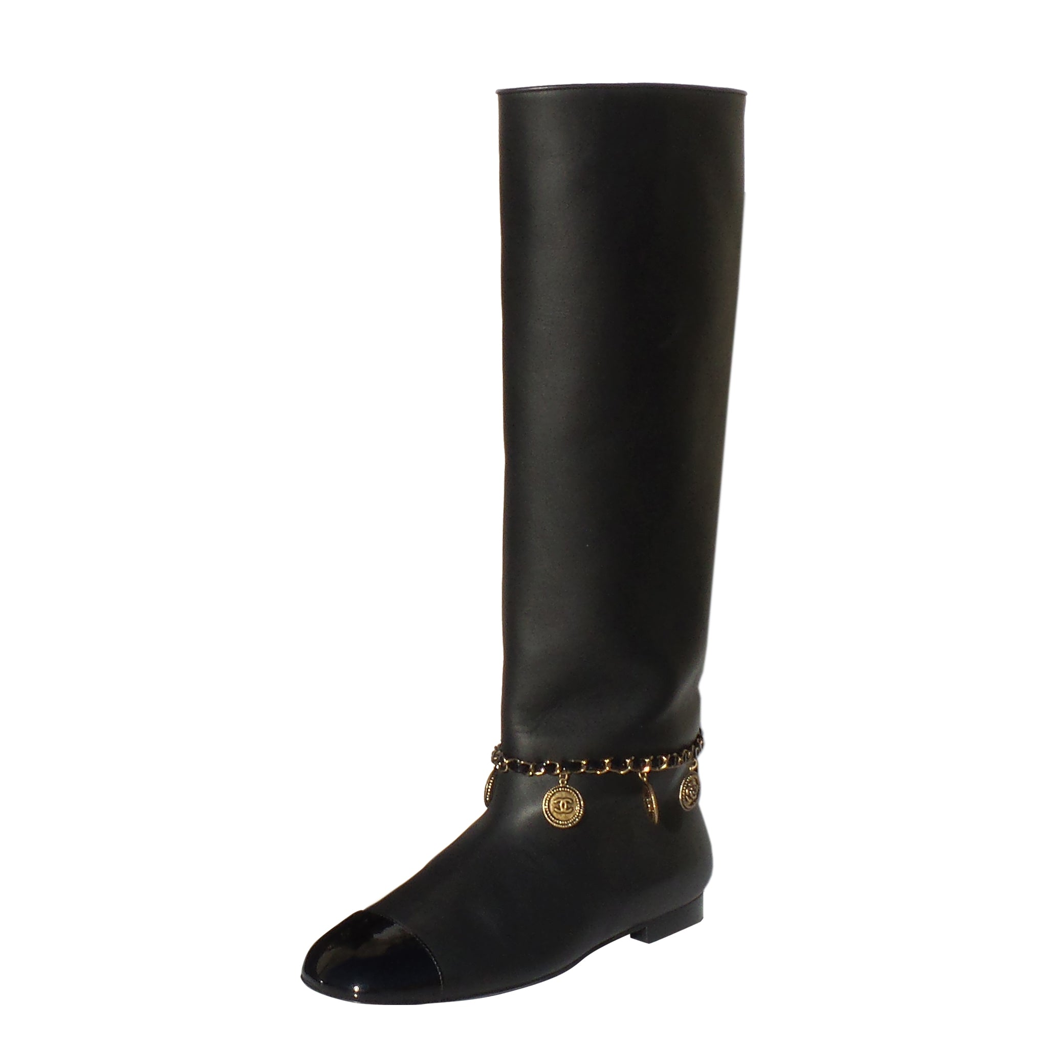 c10780027659 CHANEL 17A Black Leather Gold Charm Chain Boots 37.5 – Encore Resale.com