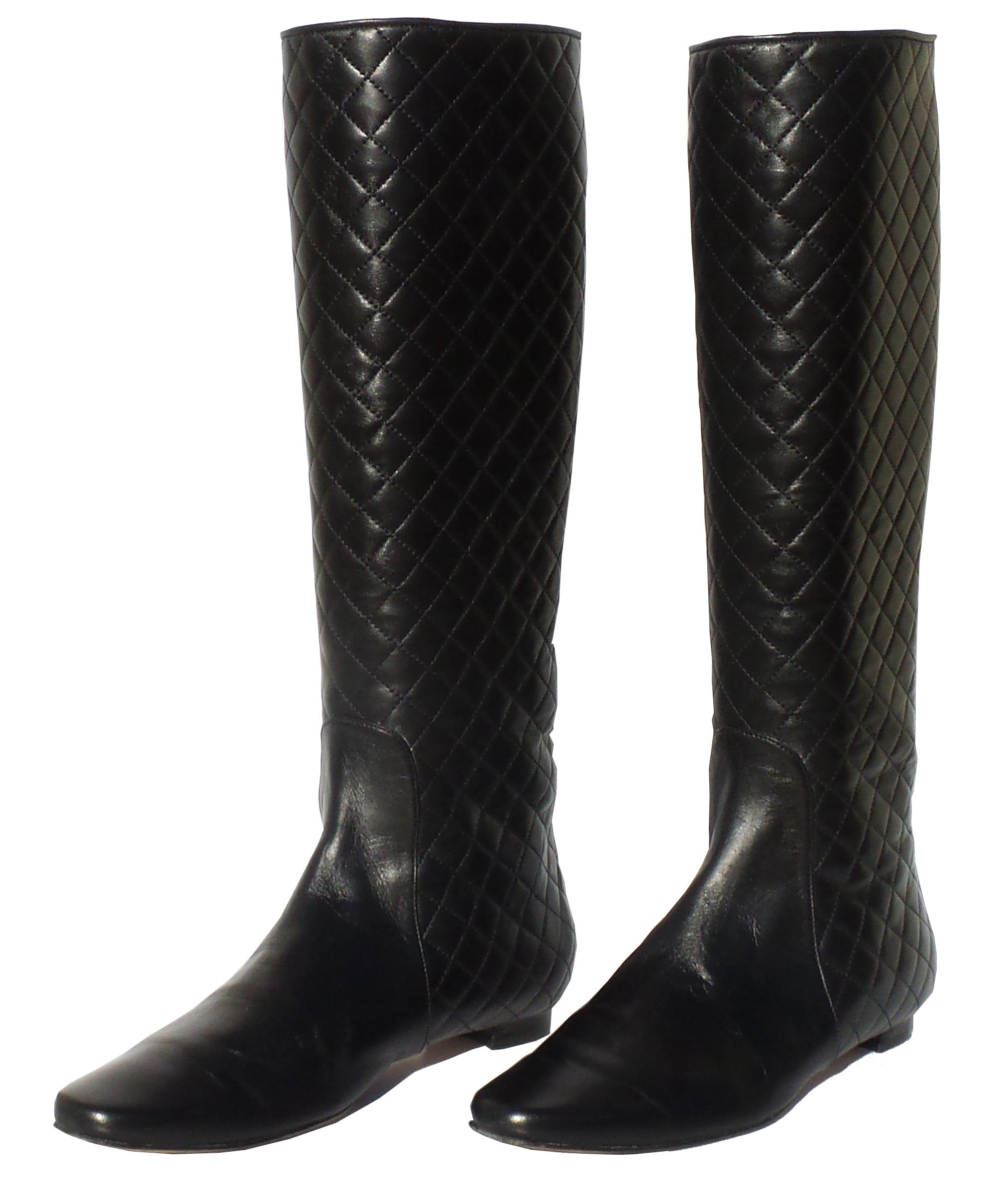 MANOLO BLAHNIK Irieboot Black Quilted Leather Tall Pull On Flat Riding Boots 38