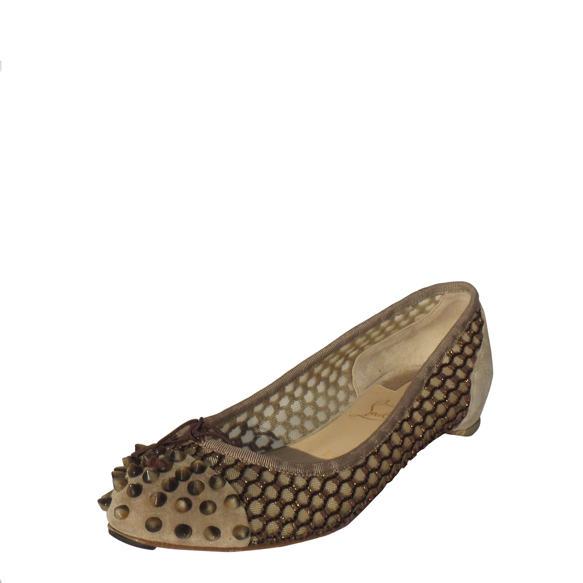 the latest 5f2e0 b1b60 CHRISTIAN LOUBOUTIN Mix Beige Suede Knotted Mesh Spiked Toe Ballet Flats  38.5 GC