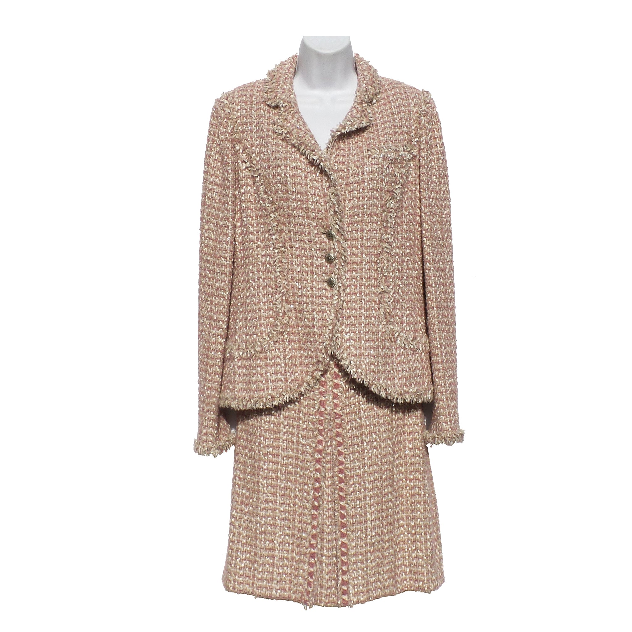 'Sold' CHANEL 06C Rose Pink Tan Beige Ivory Tweed Blazer Jacket 40 Pleat Skirt Suit 38
