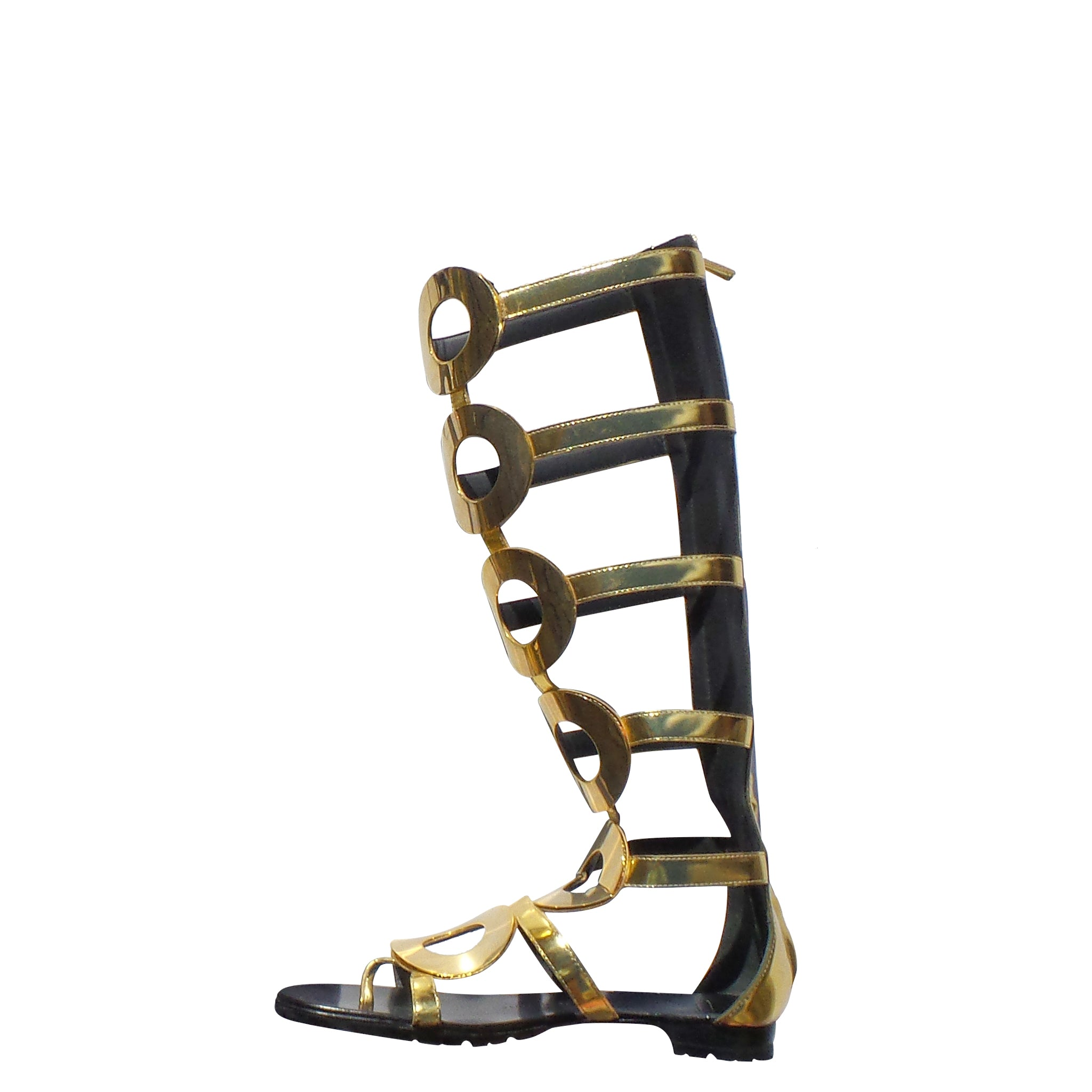 'Sold' GIUSEPPE ZANOTTI Rylee Metallic Gold Leather Gladiator Knee High Flat Sandals 41