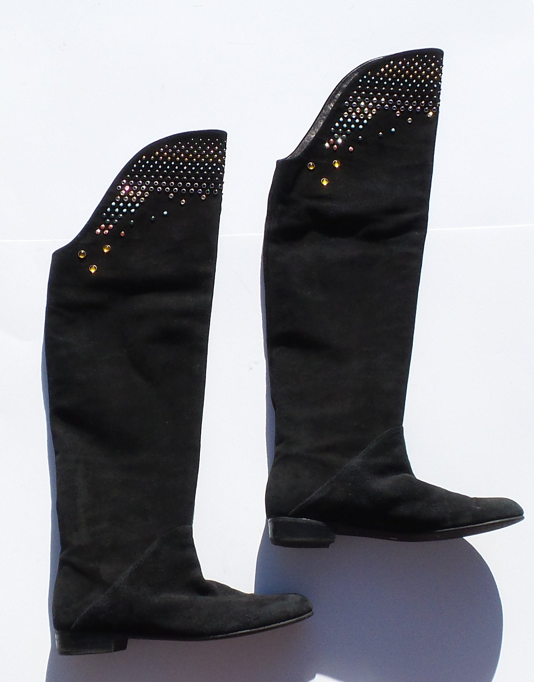 GIUSEPPE ZANOTTI Black Suede Multi Crystal Studded Over the Knee Boots 41