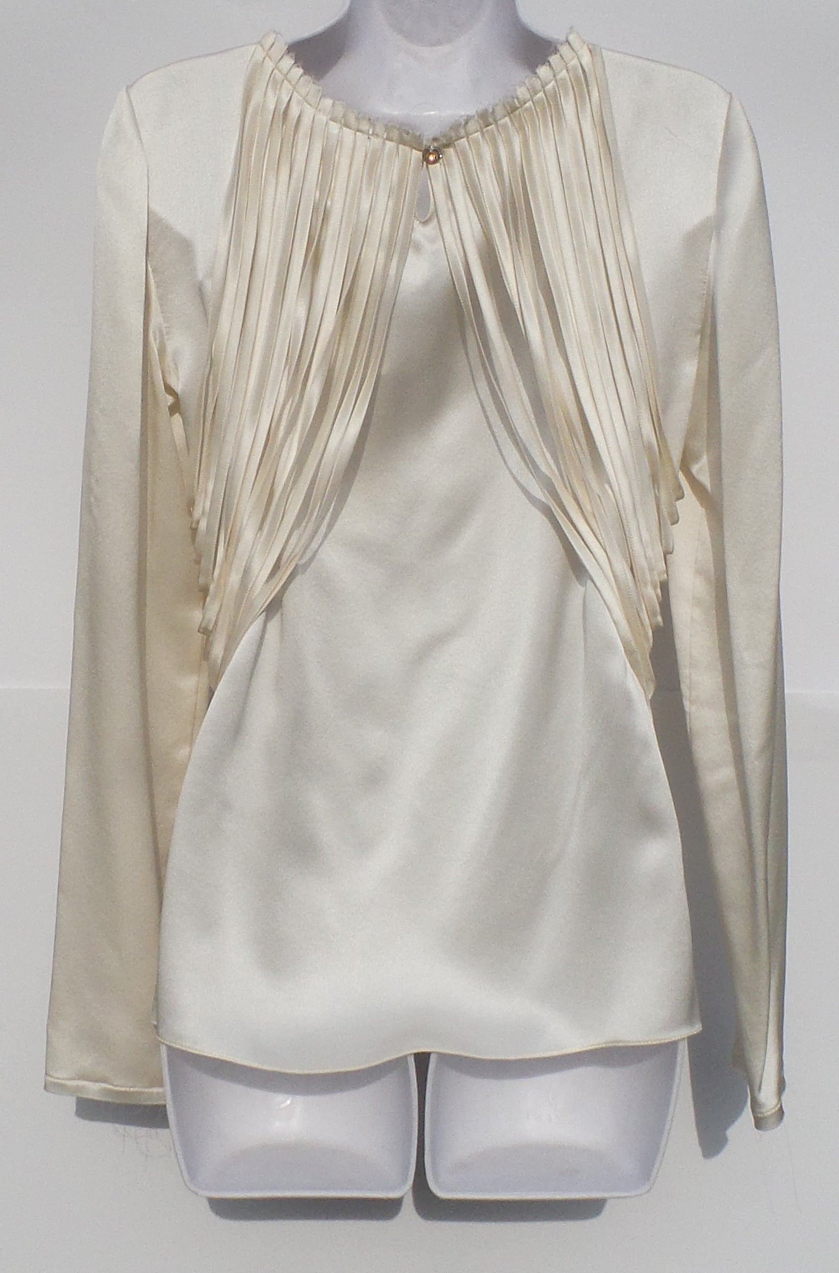 'Sold' CHANEL 12C Ivory White Draped Ribbon Silk Long Sleeve Crystal Button Blouse 38
