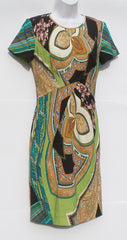 ETRO Green Ivory Orange Black Multi Printed Short Sleeve Wool Sheath Dress 42 GC
