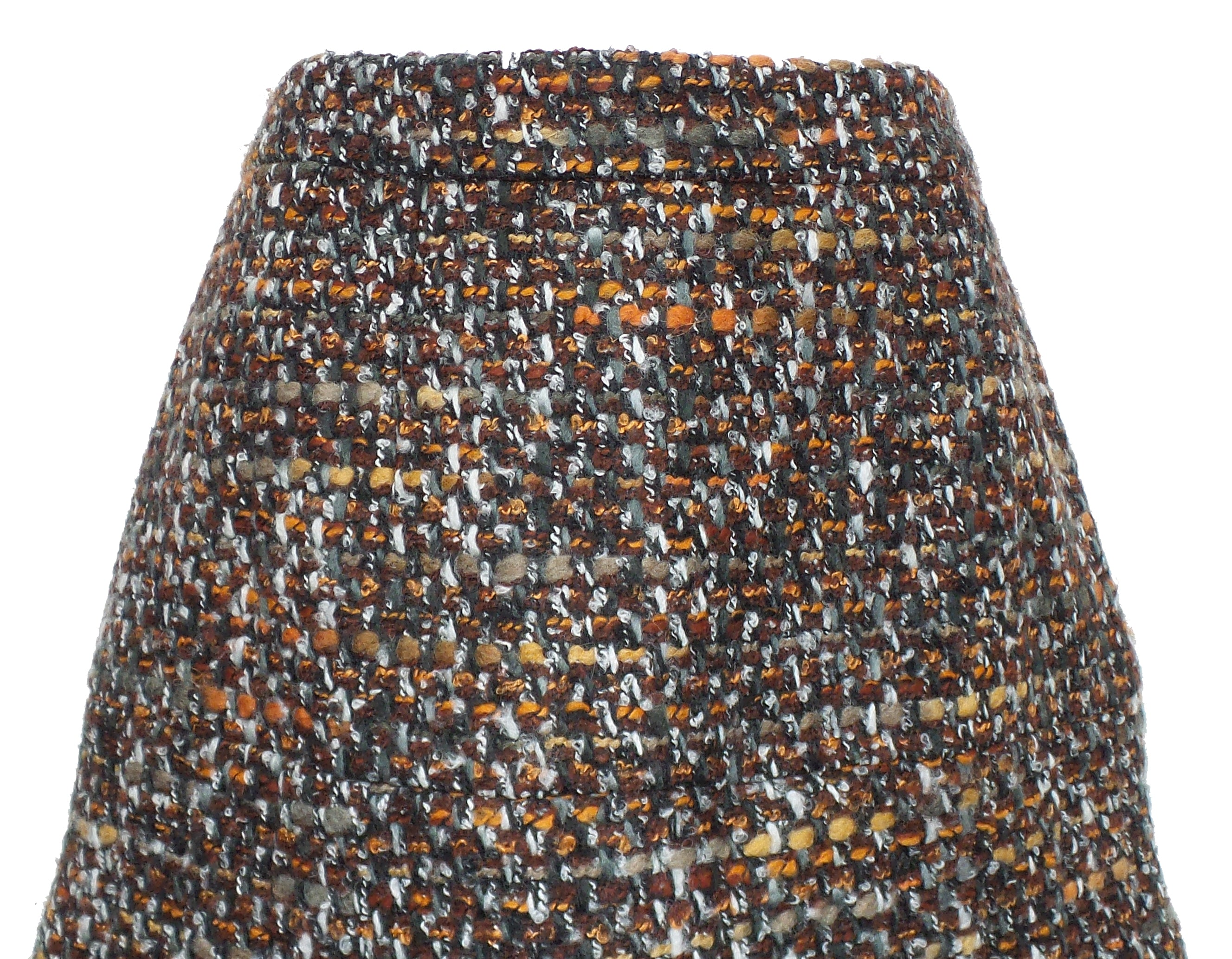 DOLCE & GABBANA Copper Brown Multi Boucle Tweed Fringe Hem Pleated Skirt 42
