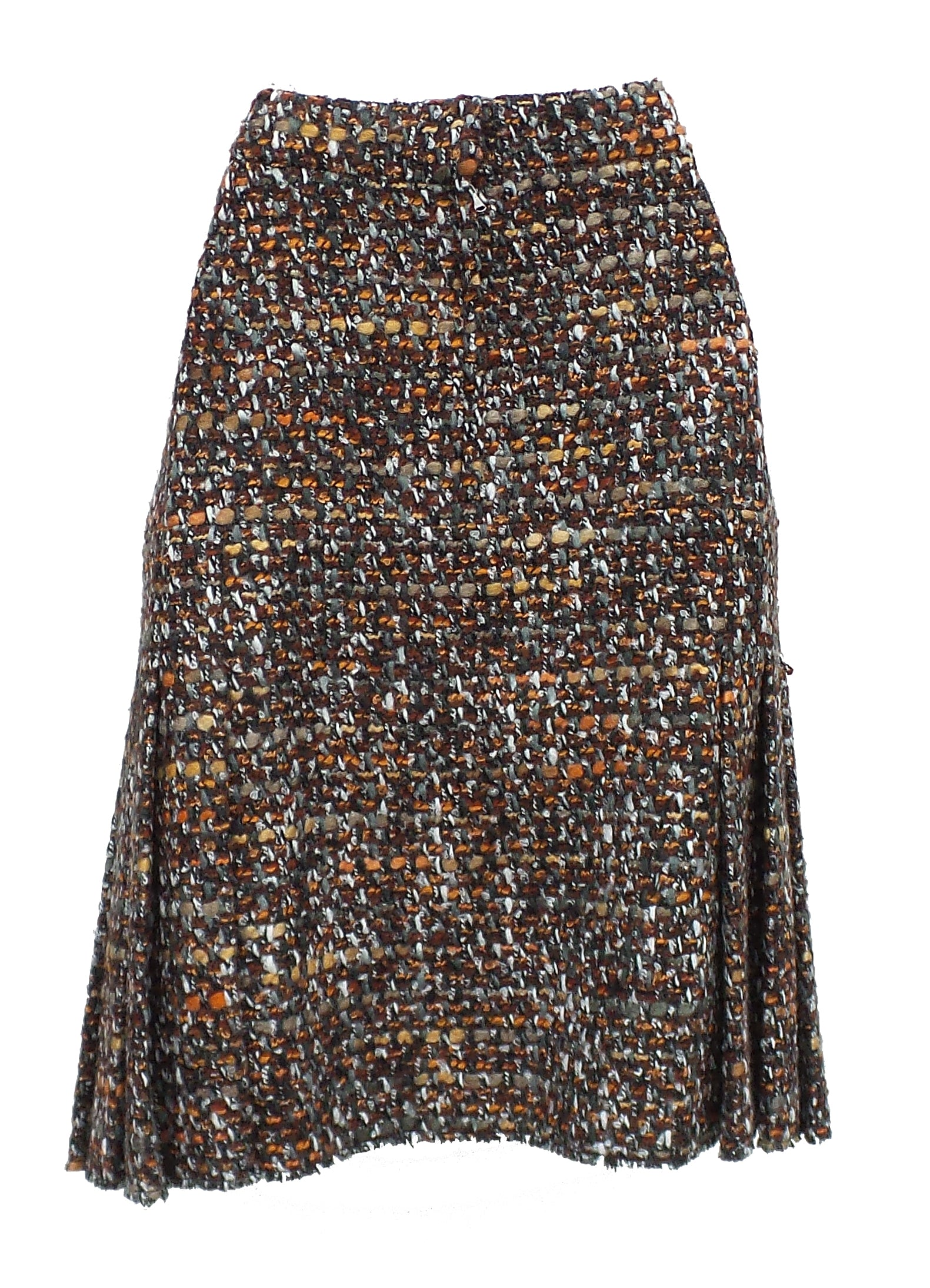 'Sold' DOLCE & GABBANA Copper Brown Multi Boucle Tweed Fringe Hem Pleated Skirt 42