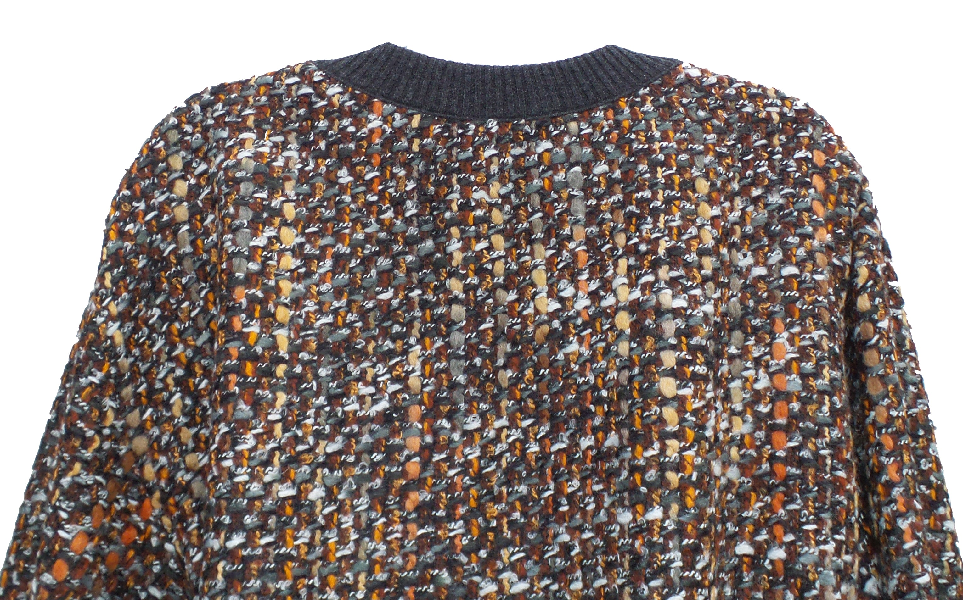 DOLCE & GABBANA Copper Multi Tweed Gray Rib Trim Fringe Hem Sweater Top 40