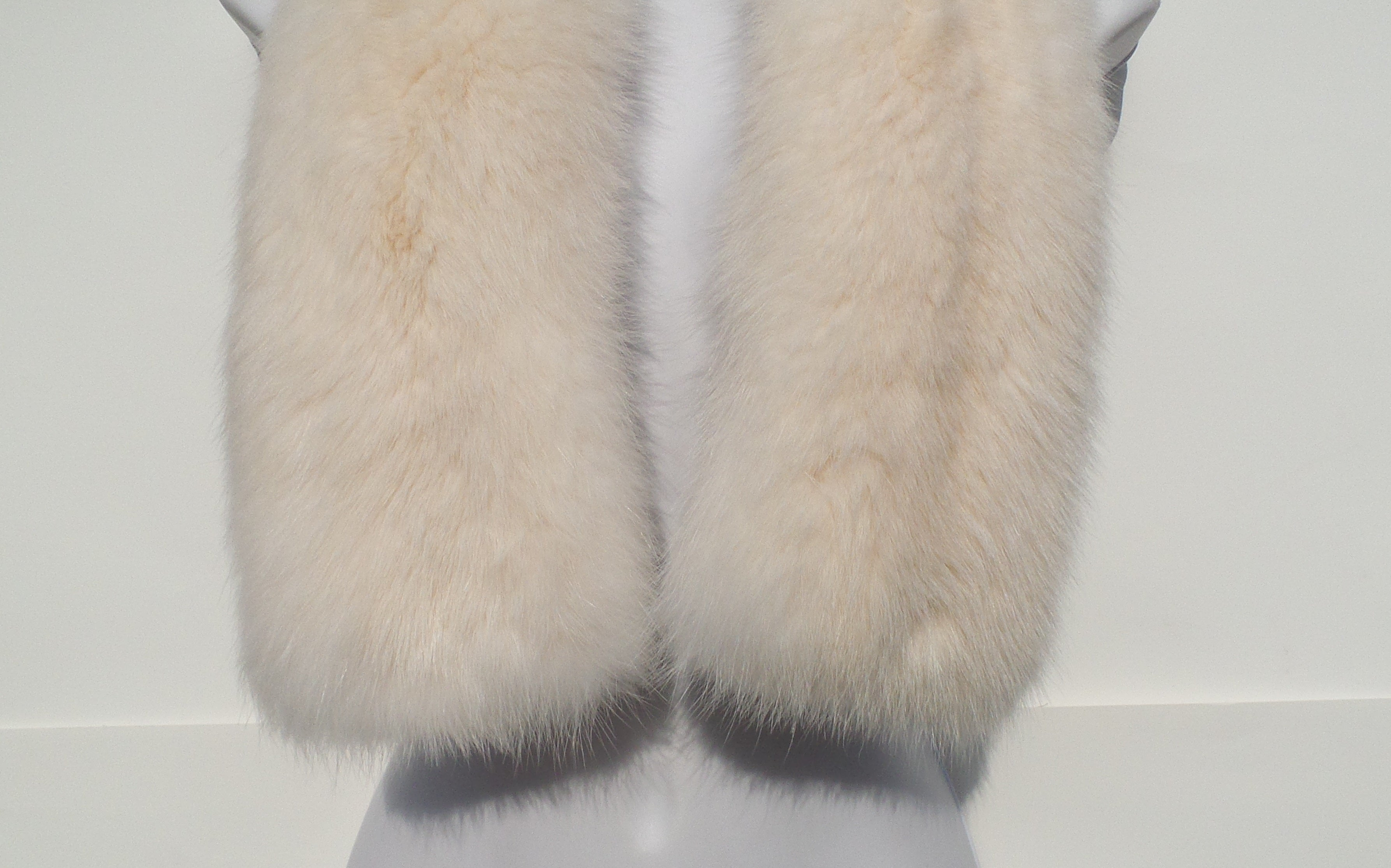 'Sold' LORO PIANA Ivory Creme White Sable Fur Cashmere Lined Pull Through Scarf Stole