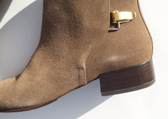 CHLOE Taupe Brown Suede Double Buckle Block Heel Ankle Boots 39.5 EC