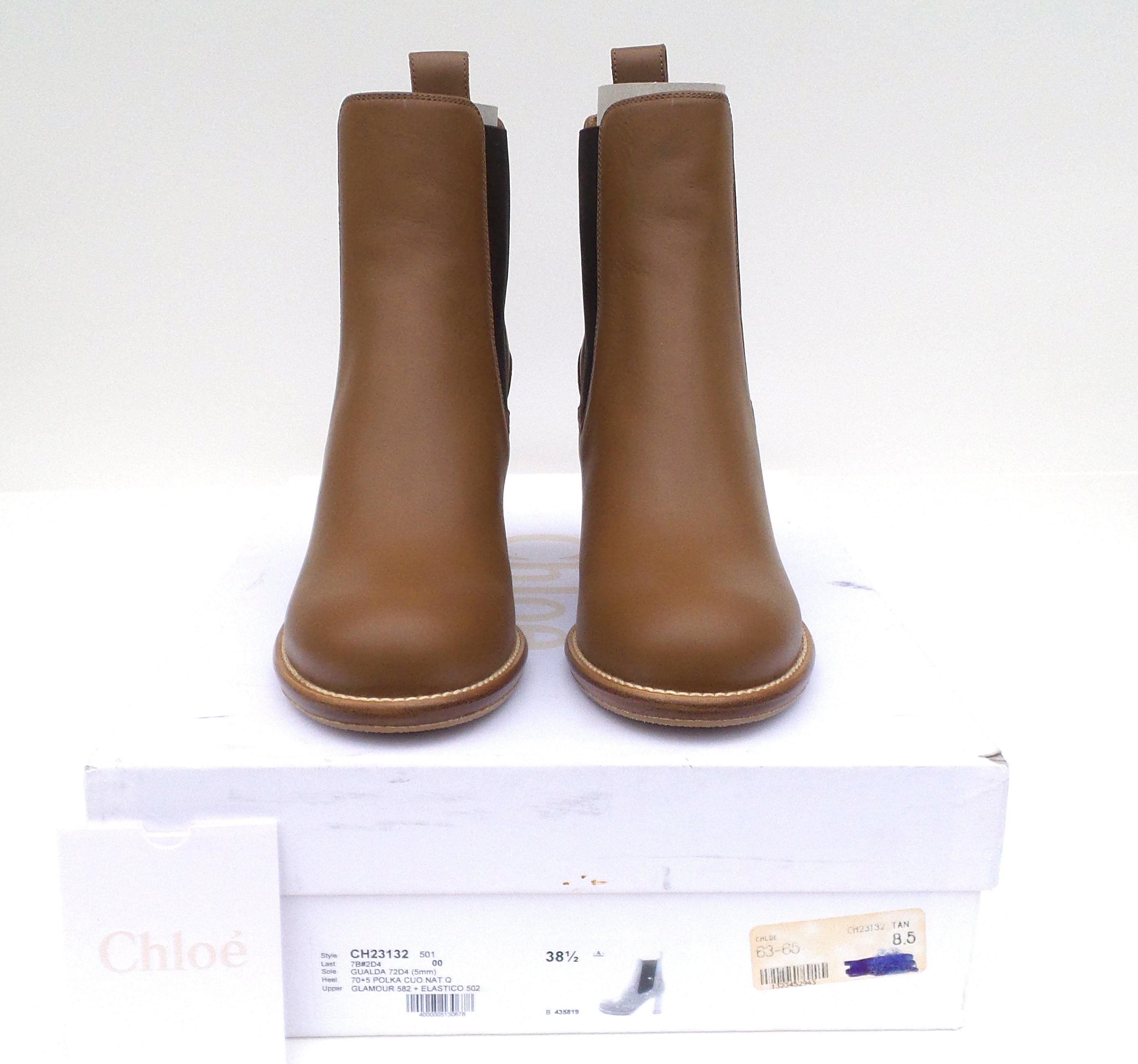 CHLOE Camel Tan Brown Leather Stacked Block Heel Ankle Boots 38.5