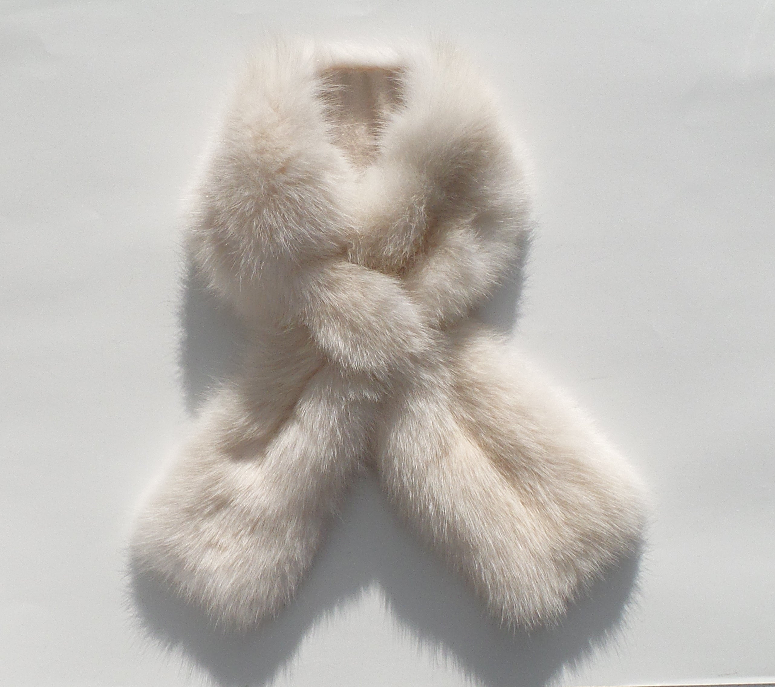 LORO PIANA Ivory Creme White Sable Fur Cashmere Lined Pull Through Scarf Stole