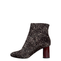 PROENZA SCHOULER Black Beige Marled Pony Fur Ankle Boots 37.5