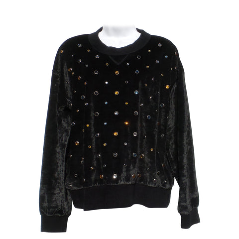 'Sold' SONIA RYKIEL Black Velvet Crystal Embellished Sweatshirt XL GC