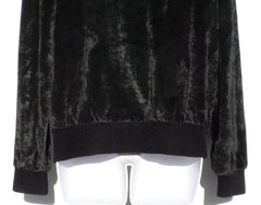 SONIA RYKIEL Black Velvet Crystal Embellished Sweatshirt XL GC