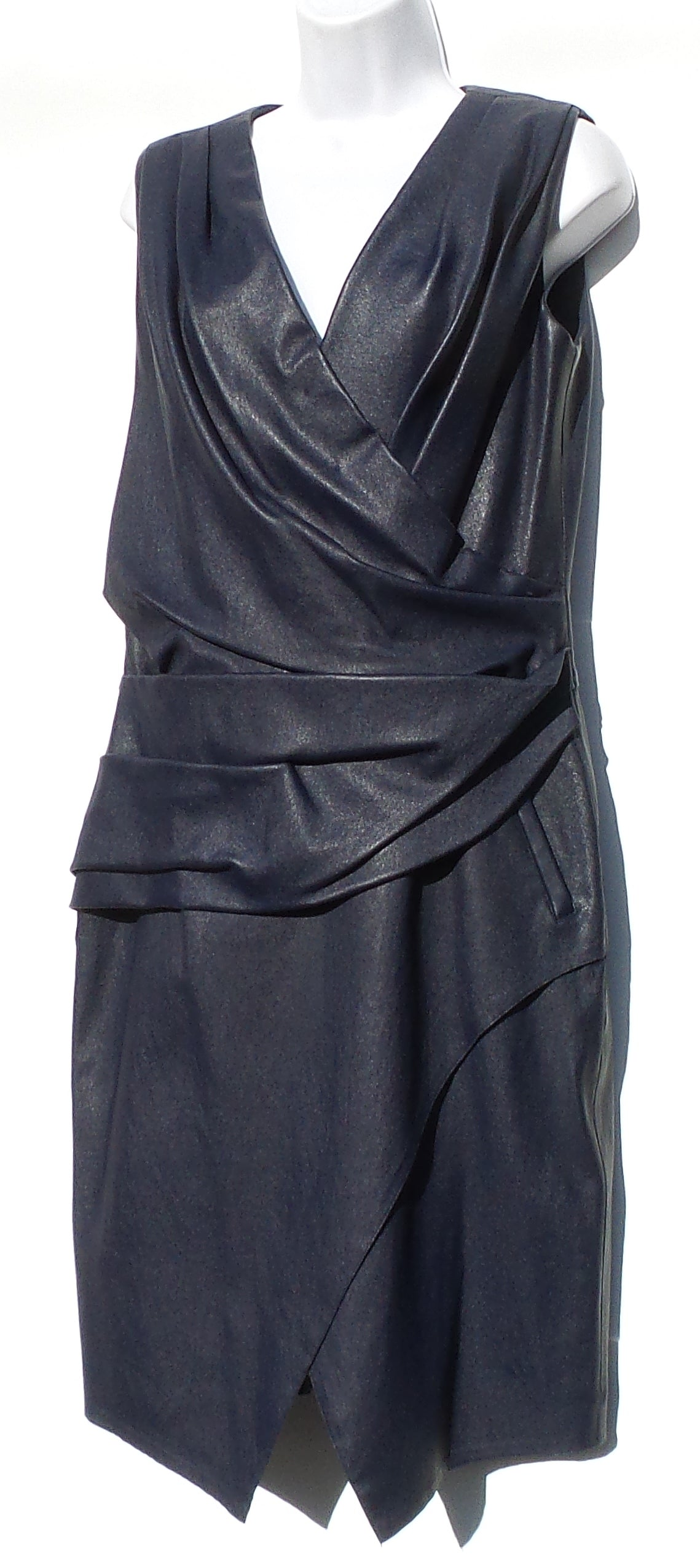 J. MENDEL Navy Blue Faux-Wrap Lamb Leather Sheath Dress 12 $3800 NWT