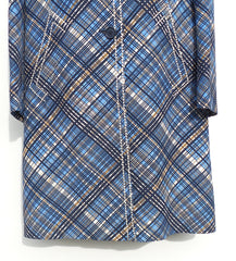 PRADA Blue Navy Brown Diamond Plaid Ivory Stitch Wool Silk Coat 42