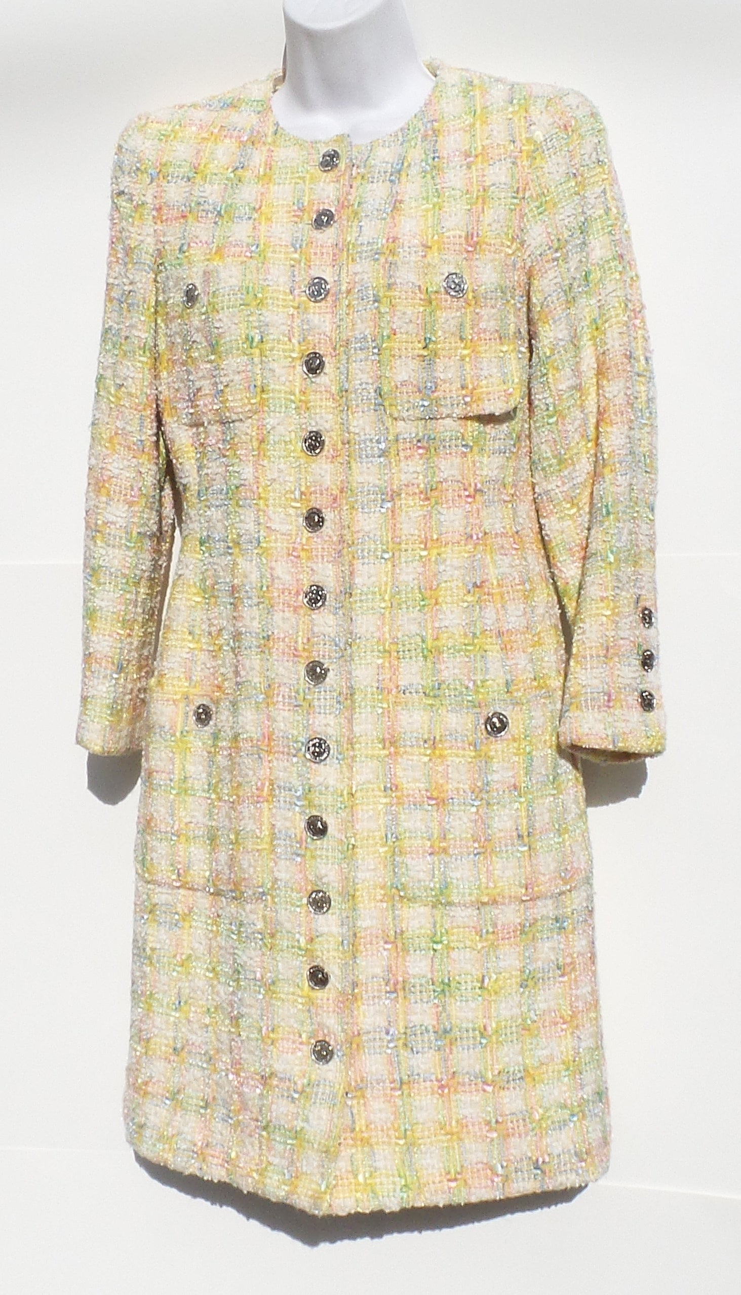 'Sold' CHANEL 96P Yellow Pink Purple Tweed Silver CC Button Coat Jacket 34